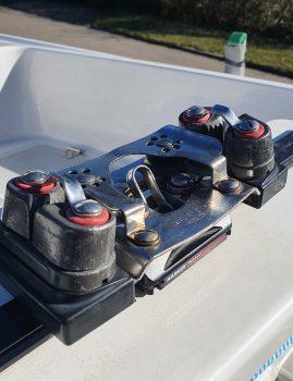Harken storskødevogn med luv-automatik sælges